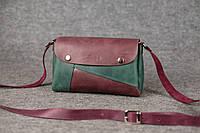 Женская кожаная сумка Kiki | Бордо-Изумруд