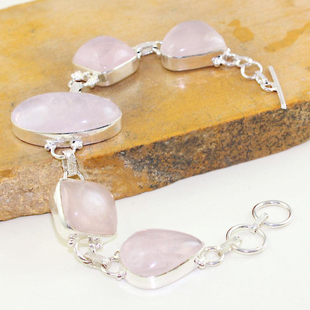 Браслет с камнем розовый кварц в серебре. Браслет с розовым кварцем. Индия!