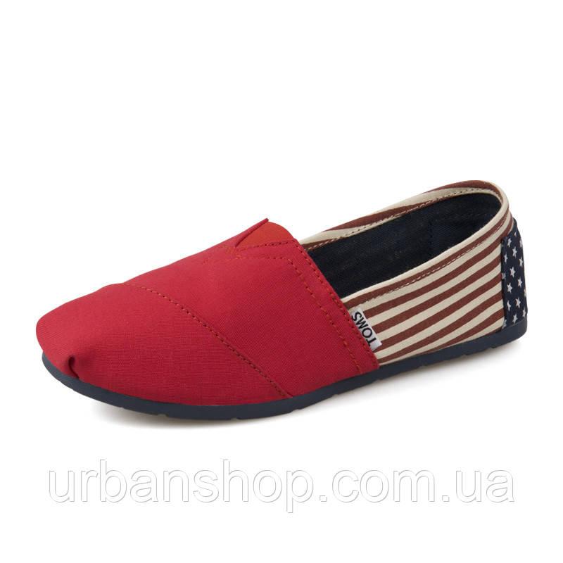 Мокасины эспадрильи TOMS (томсы) 35-40 р Canvas Flag Stripe Red Artist Toms Shoes.