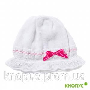 Вязаная шапочка-капор  для девочки с завязками, белая, Jamiks, Польша, 46 см