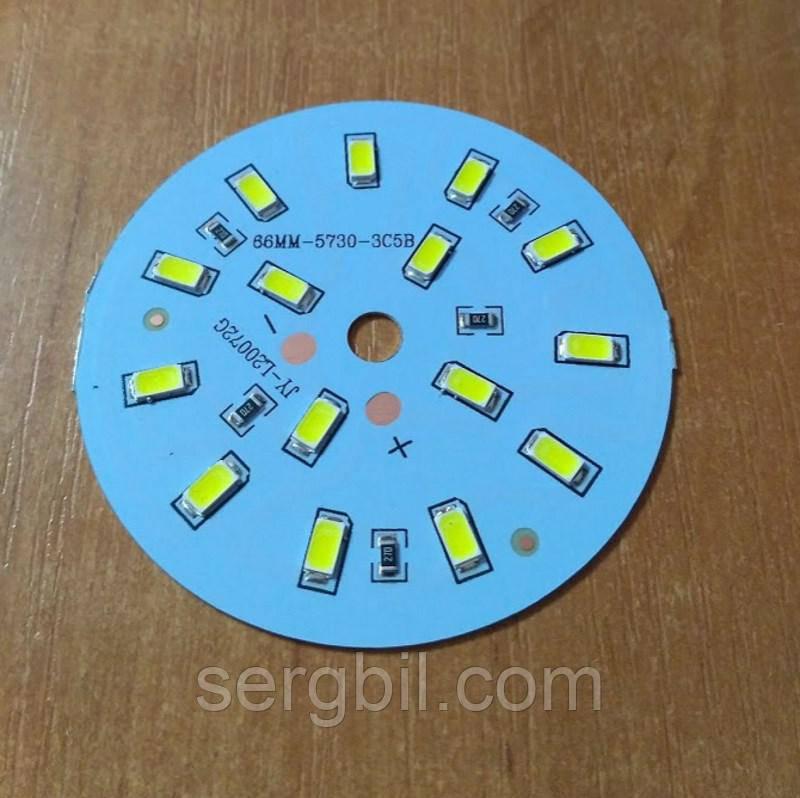 Світлодіодна збірка кругла 7W 6000K на ал. диску 66мм, живлення 12В