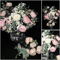 Букеты нежной розы для интерьера, выс. 53 см., 11 веточек, 215/195 (цена за 1 шт. + 20 гр.)