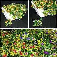 Пластиковые мелкоцветковые букетики, выс. 10-12 см., 5 веточек, 14/10 (цена за 1 шт. + 4 гр.)