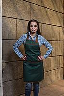 Фартук с нагрудником зеленый для официанта, униформа для персонала, индивидуальный пошив, все размеры