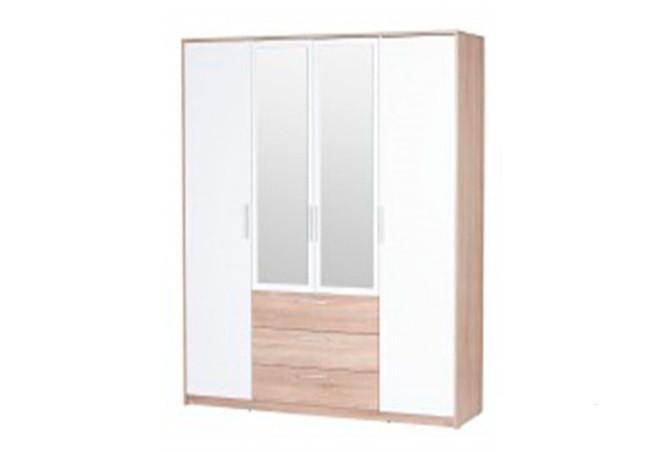 Шафа (шкаф) з ДСП/МДФ в спальню/вітальню/дитячу 4D3S (з двома дзеркалами) дуб сонома/білий РІКО ВМВ Холдінг