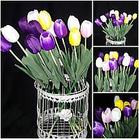 Красивые тюльпаны, ткань и латекс, разные цвета, выс. 62 см., упак. 20 шт., 25/16 (цена за 1 шт. + 9 гр.)