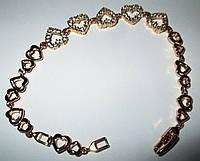 """Позолоченный браслет   """"Сердечки"""" от студии LadyStyle.Biz, фото 1"""