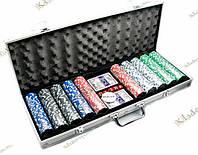 Покерный набор в алюминиевом кейсе, 500 фишек + 2 колоды карт