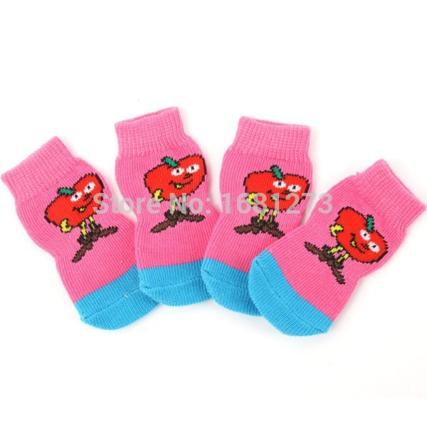 Вязаные носки для маленьких собак розовые набор 4 шт.