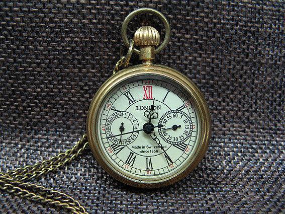 Механические карманные часы на цепочке из бронзы London, фото 1