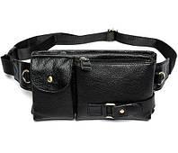 Мужская сумка из натуральной кожи на плечо или на пояс черная, фото 1