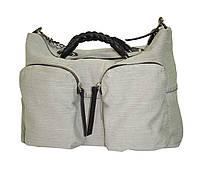 Сумка с плетёными ручками джинс серая, фото 1