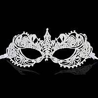 Карнавальная белая маска из кружев