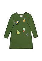 Платье для девочки с аппликацией зеленое