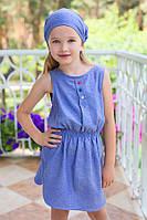 Платье летнее для девочки (хлопок деним в горошек)