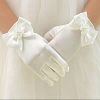 Перчатки на свадьбу белые атласные, фото 1