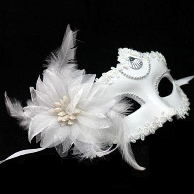 Маска женская карнавальная белая с цветком