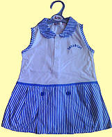 Платье детское летнее Teddy Girl, белое с голубыми полосками 12 м