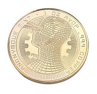 Биткоин сувенир монета позолоченная