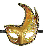 Маска маскарадная для лица золотистая
