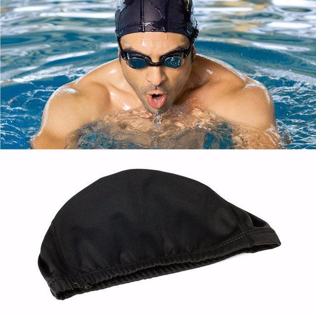 Шапочка для плавания мужская спортивная черная, фото 1