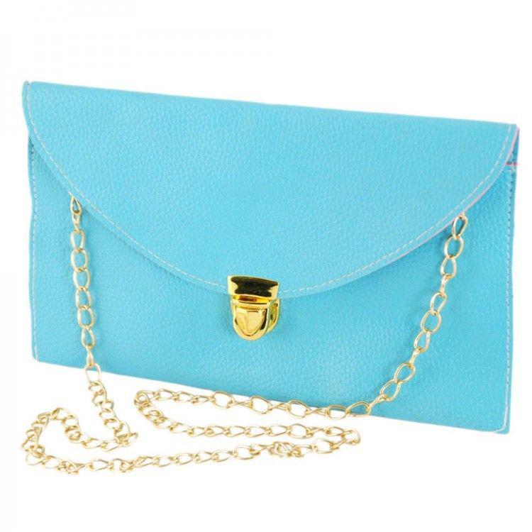 0d96b6bbce7b Голубой клатч-конверт на цепочке Traum арт. 7210-17 - Интернет-магазин