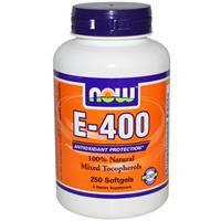 Витамин Е - 400, 100 % Натуральная смесь токоферолов, Now Foods,  250 гелевых капсул