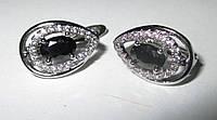 """Элегантные серьги с черными и белыми  фианитами """"Кошачий глаз"""" от студии LadyStyle.Biz, фото 1"""