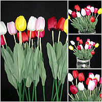 Красивые тюльпаны разных цветов из ткани и латекса, выс. 62 см., упак.20 шт., 25/16 (цена за 1 шт. + 9 гр.)