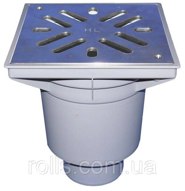 HL606S/5 Дворовый трап серии Perfekt DN160 верт. нерж. сталь с морозоустойчивым запахозапирающим затвором.