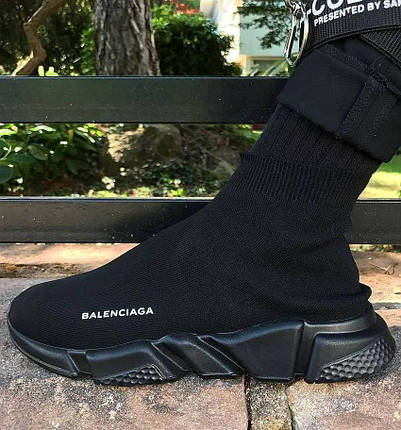 Женские и мужские кроссовки в стиле Balenciaga Speed Trainer Sock Black, фото 2