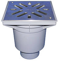 HL606SW/5 Дворовый трап серии Perfekt DN160 верт. нерж. сталь с водяным затвором.