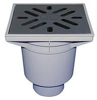 HL606W/1 Дворовый трап серии Perfekt DN110 вертикальный 244х244мм ПП/226х226мм чугун с водяным затвором.