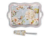 Блюдо для торта с ручками и лопаткой Lefard Райский сад 35 см, 924-274