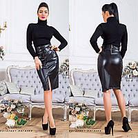 Женская юбка из эко - кожи ROSA цвет Черный