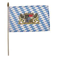 Флажок Баварии с гербом 10x15см на пластиковом флагштоке MFH 35403B