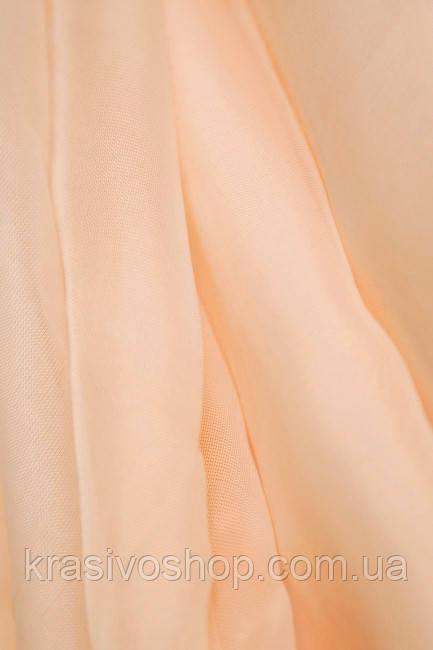 Тюль шифон  однотонный  персиковый , высота 2.8м