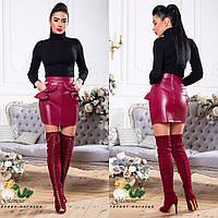 Женская юбка из эко - кожи ROSA 3 цвет Бордо