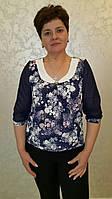 Блуза женская больших размеров Лютики