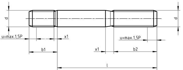 Схема шпильки DIN 835