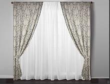 Дорогі готові штори у вітальню(тканинні підхоплення + 50 грн.)