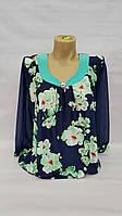 Блуза женская больших размеров Весенние цветы