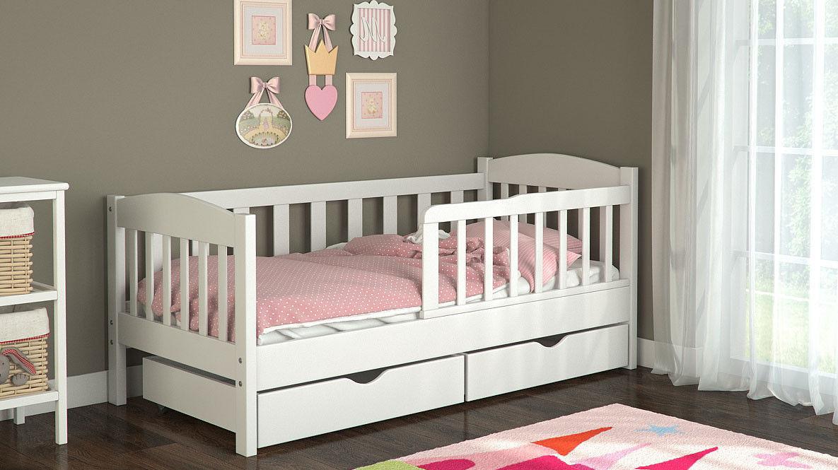 """Детская кроватка """"Пром"""" с ящиками из дерева"""