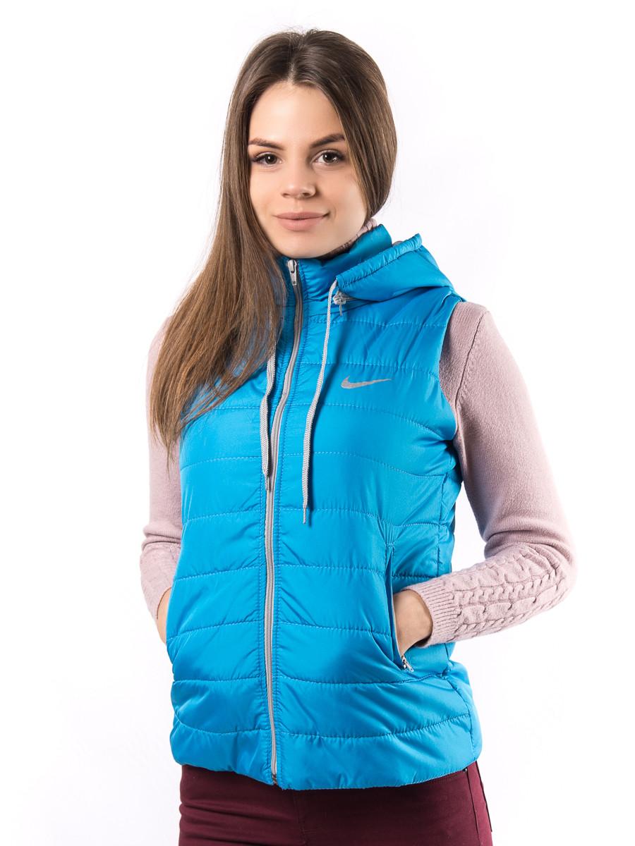 Женская голубая жилетка фабричный пошив весна осень D1123