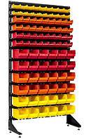 Стеллаж для гаража с пластиковыми ящиками под метизы и запчсти