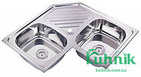 Мойка кухонная угловая Kraft M8383B_0,8 mm (декор)