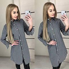 Летняя женская рубашка-платье из хлопка