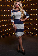 Эффектное женское платье, трикотажное, серый/синий, размер 44, 46, 48, 50