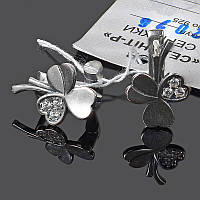 Серебряные серьги Трилистник