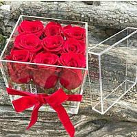 Акриловая коробка для цветов - на 9 роз